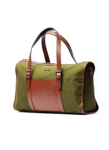 Deri Company Deri Company (7777Yk) 116016 Erkek Kanvas Kumaş Basic Seyahat Çantası Yeşil
